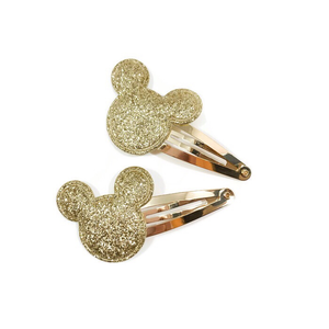Gold Glitter Mouse Snap Clip Set