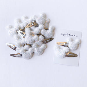 White Glitter Mouse Snap Clip Set