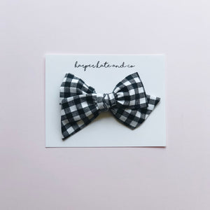B&W Plaid • Oversized Hattie Bow