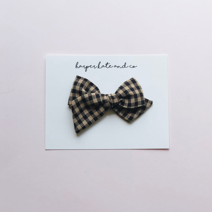 Black & Tan Plaid • Small Hattie Bow