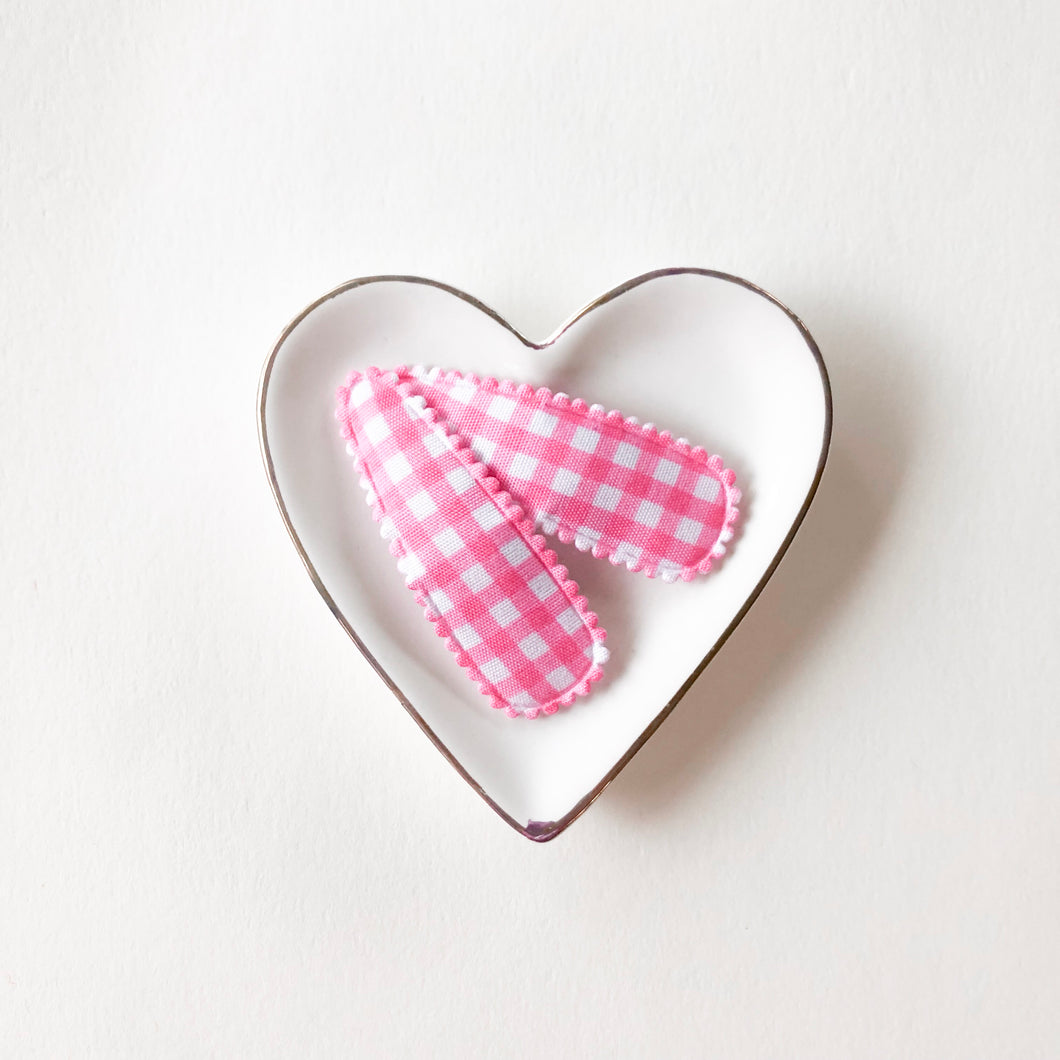Pink Gingham Snap Clip Set