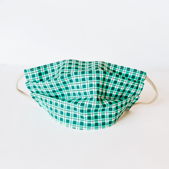 LARGE Face Mask • Green Plaid