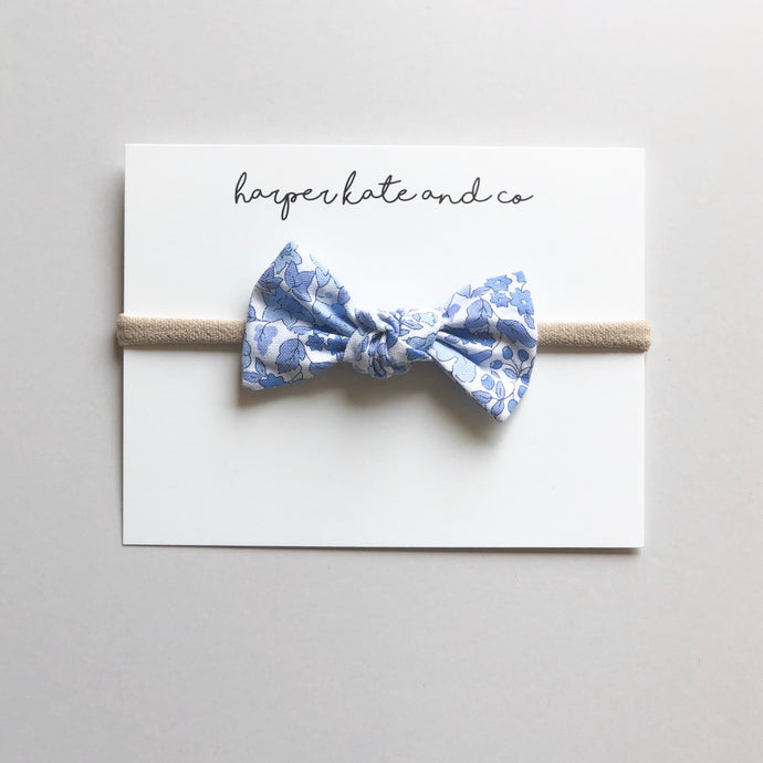Blue Floral Oversized Knot Bow