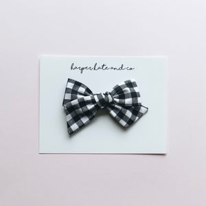 B&W Plaid • Small Hattie Bow