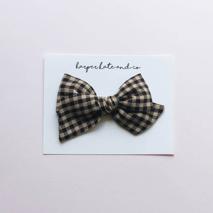 Black & Tan Plaid • Oversized Hattie Bow