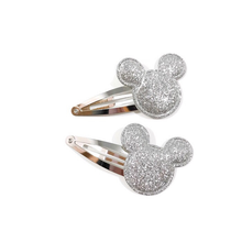 Silver Glitter Mouse Snap Clip Set