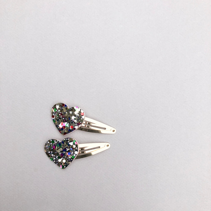 Glitter Heart Snap Clip Set
