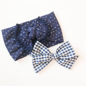Navy Dot Knotted Headband