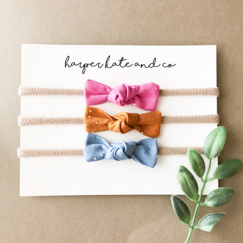 Knot Bow Set - Pink, Mustard, Blue