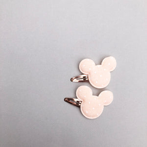 Peach Mouse Snap Clip Set