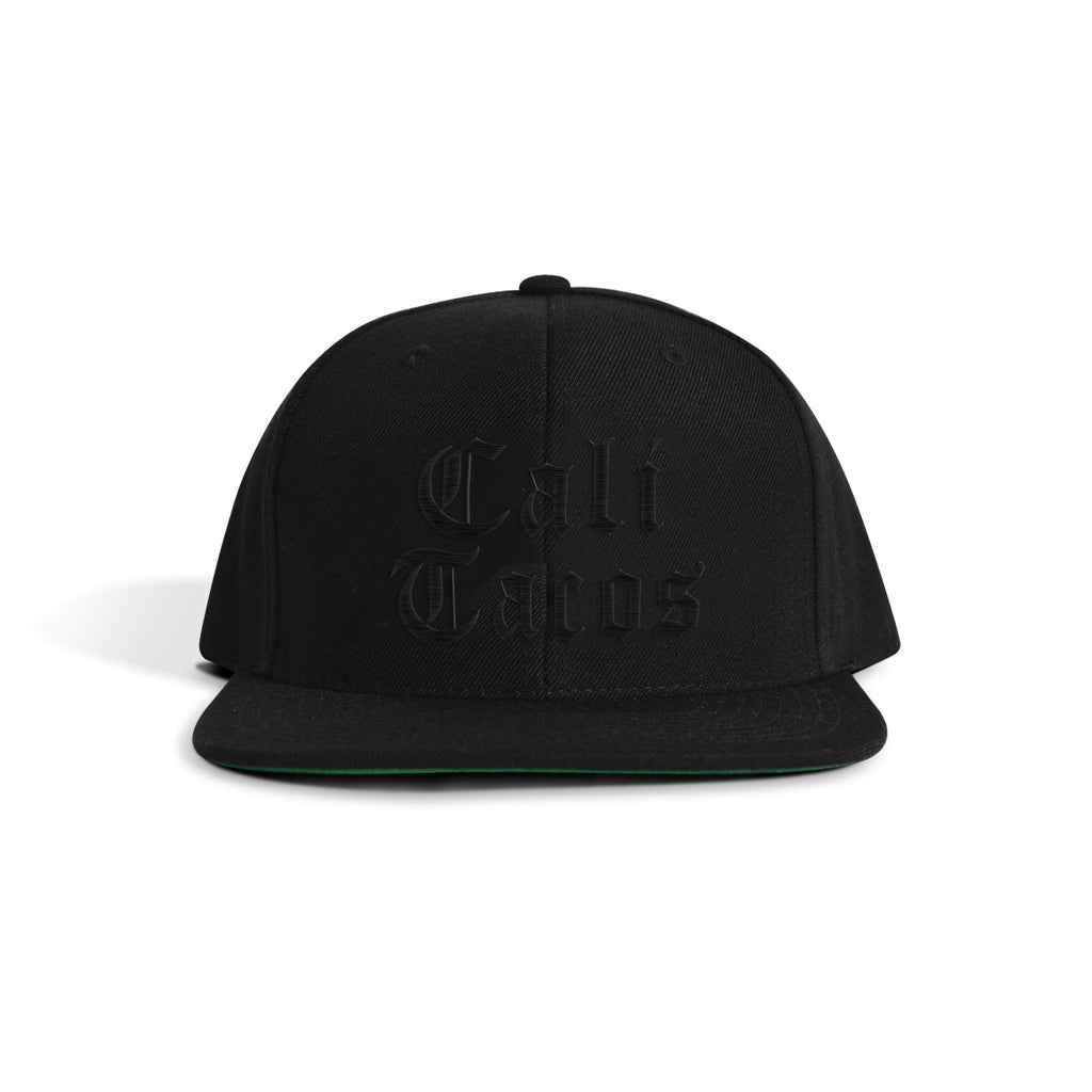 Cali Tacos Old English Black on Black Snapback