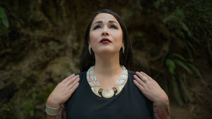 Sasha Lapointe wearing Muskox horn Fine Jewellery and Dentalium shells.