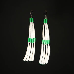 Dentalium Shell Earrings - Green Whitehearts
