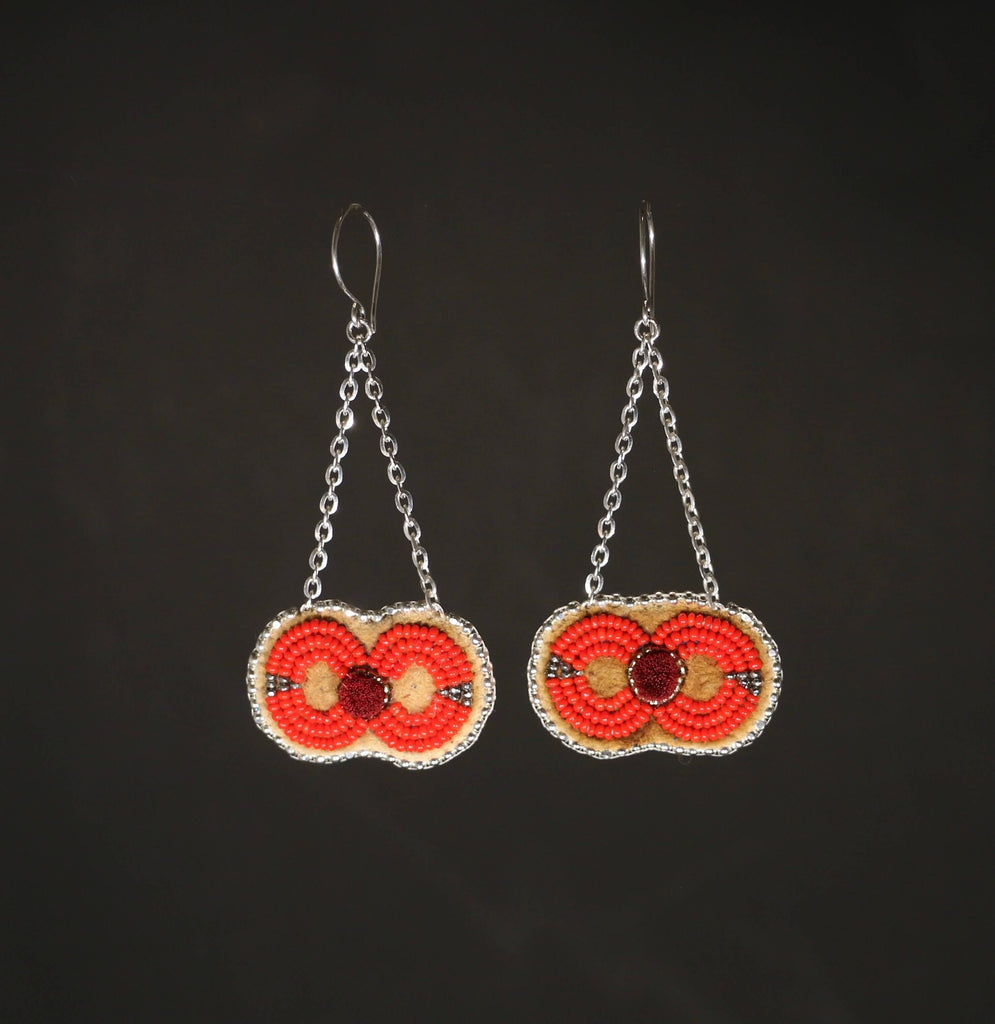Caribou Tufted and Beaded earrings - Red