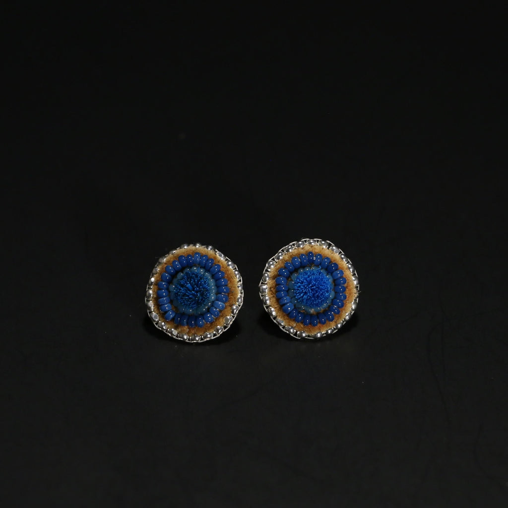 Caribou Tufted and Beaded Studs - Denim Blue