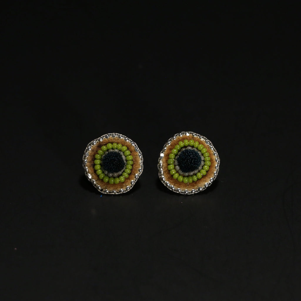 Caribou Tufted and Beaded Studs - Green