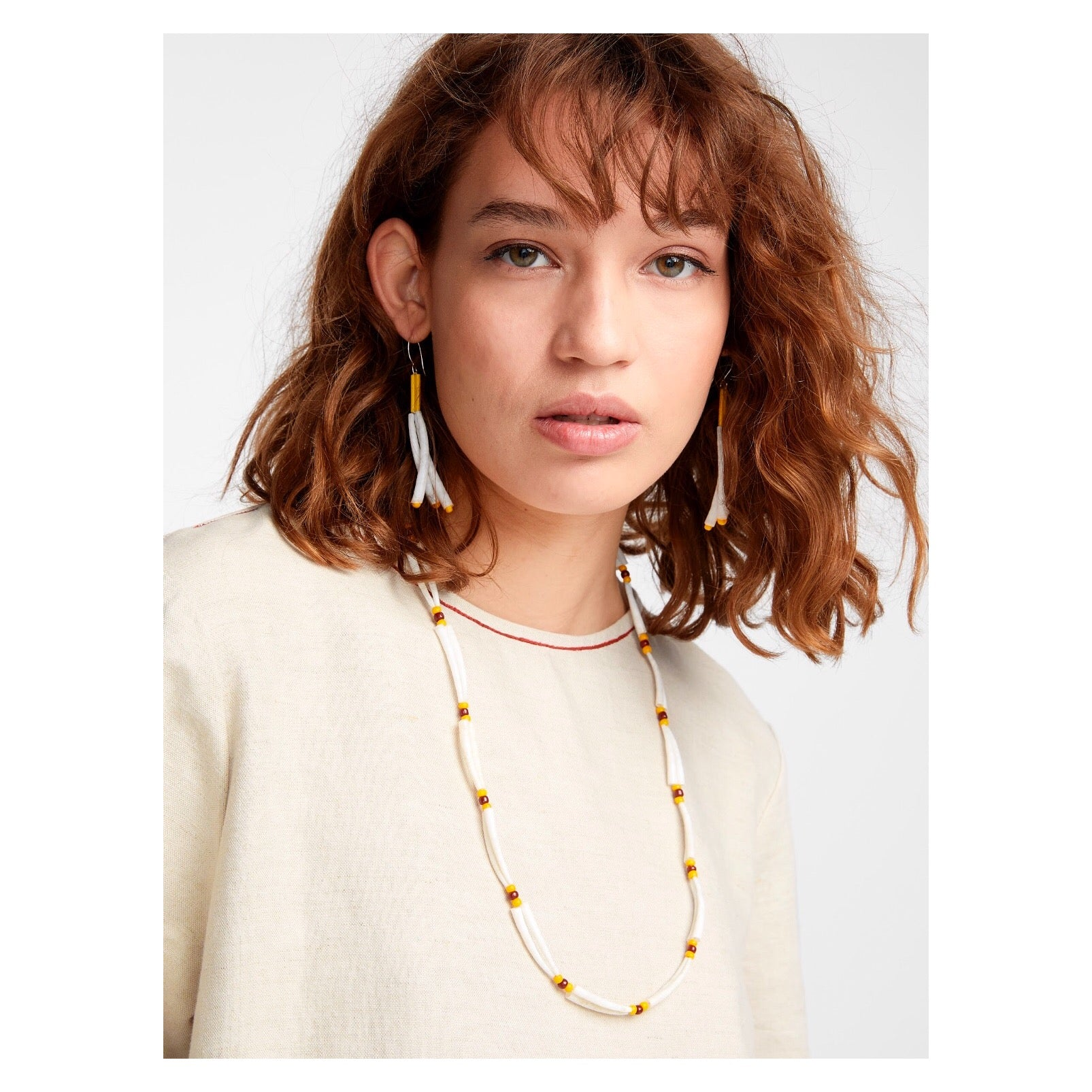 Dentalium Shell Earrings - Yellow