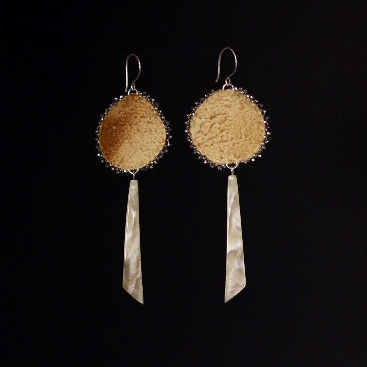 PRE-ORDER Beaded Rose, Caribou Tufting and Muskox Horn Earrings