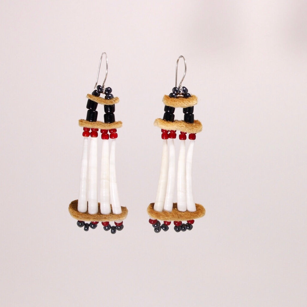 Dentalium and Moose Hide earrings - Red and Black