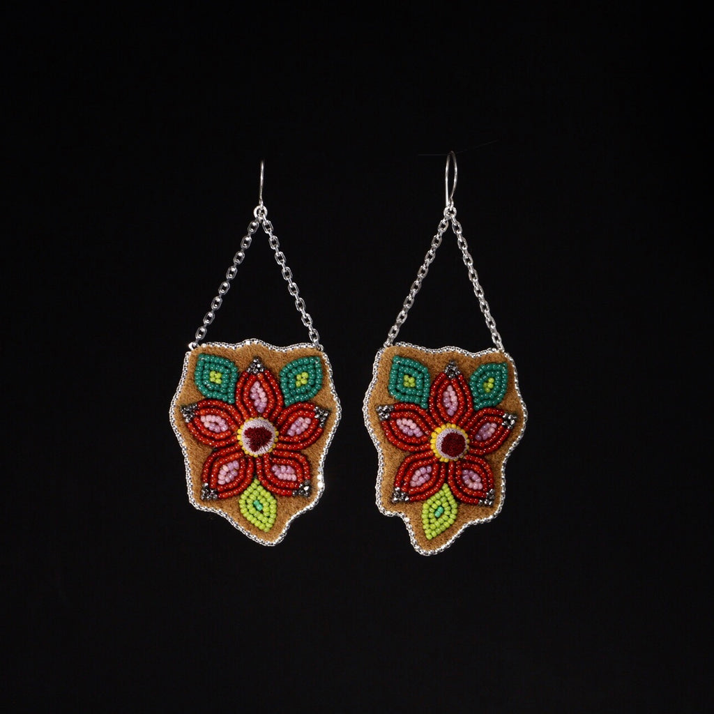 Pre-Order Caribou Tufted Beaded Floral Earrings - Red