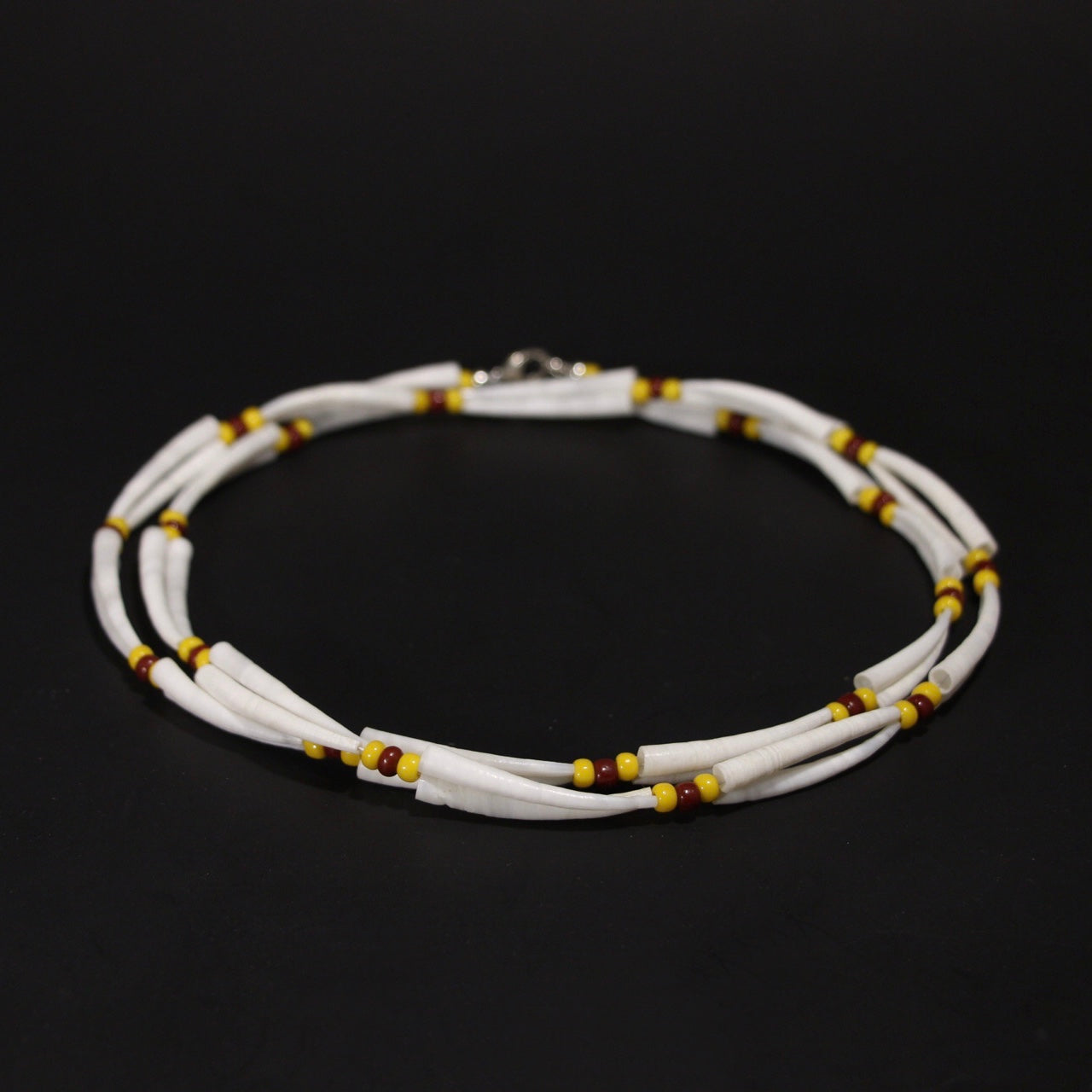 Dentalium Shell Necklace - Yellow and Brown