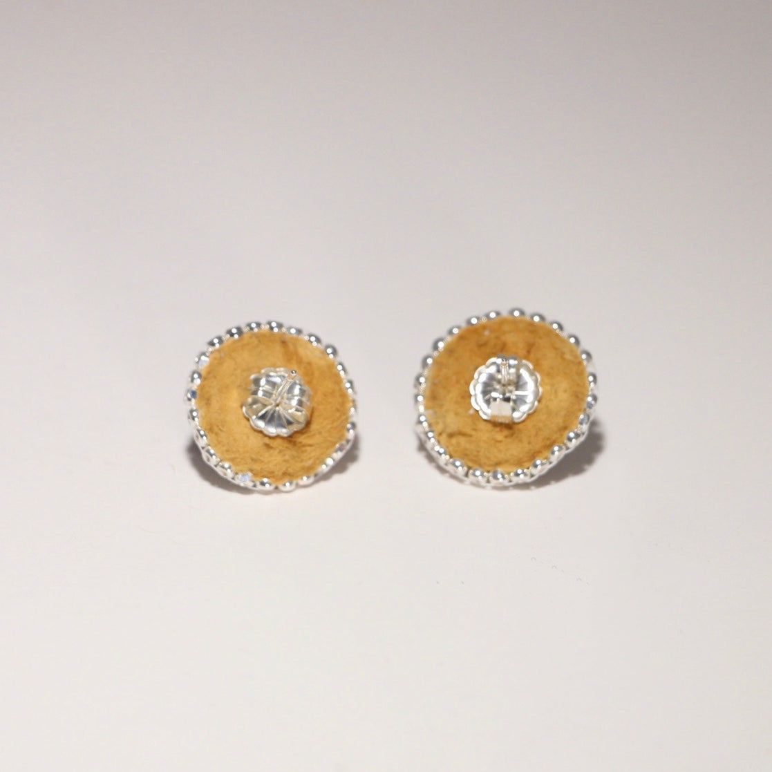 Caribou Tufted and Beaded Studs - White & Black