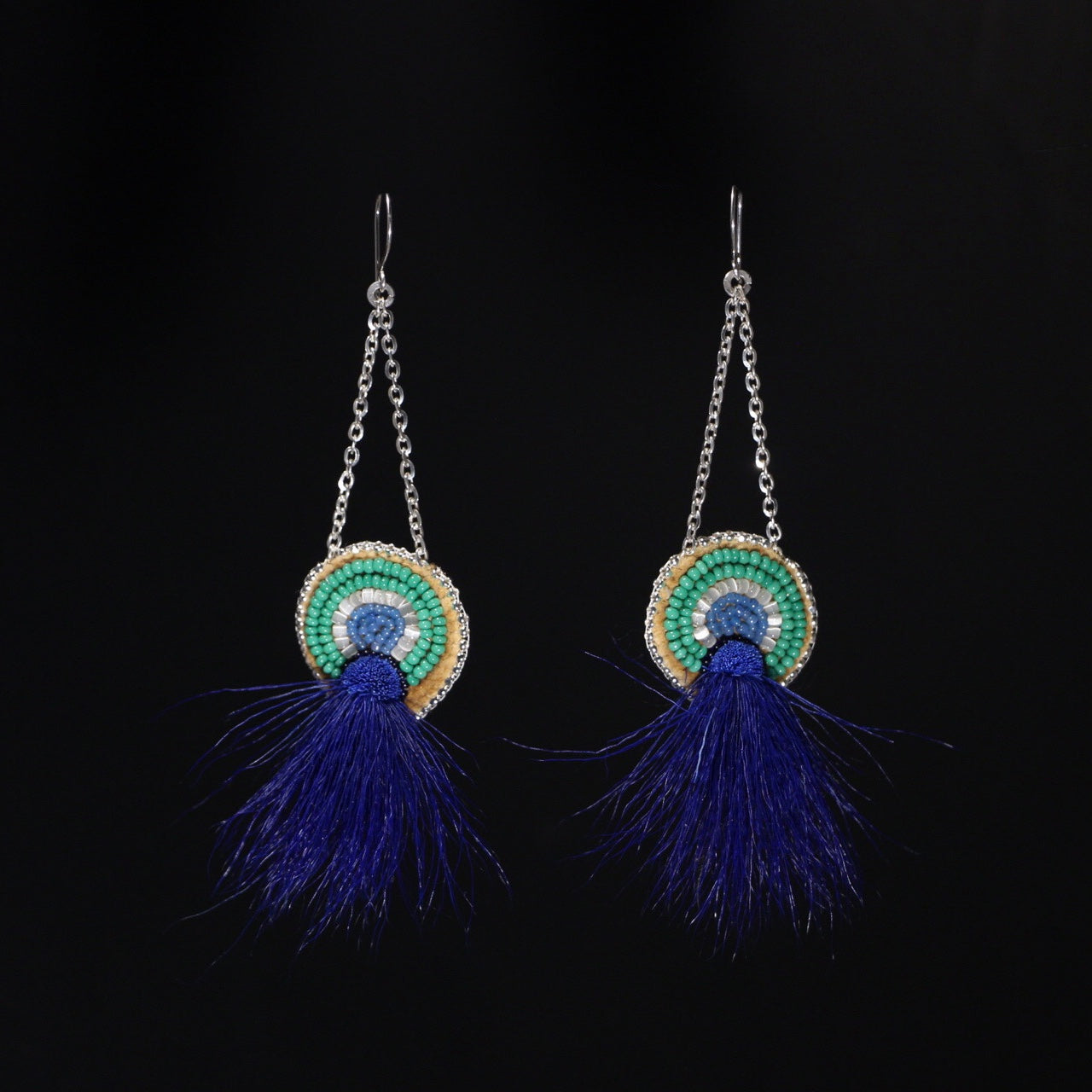 Caribou Burst Beaded Earrings - Blue