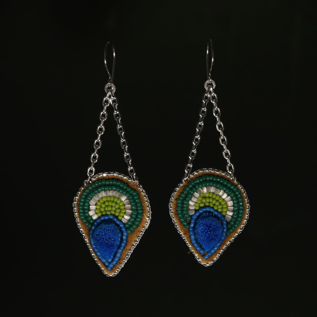 Caribou Tufted Beaded Earrings - Blue and green