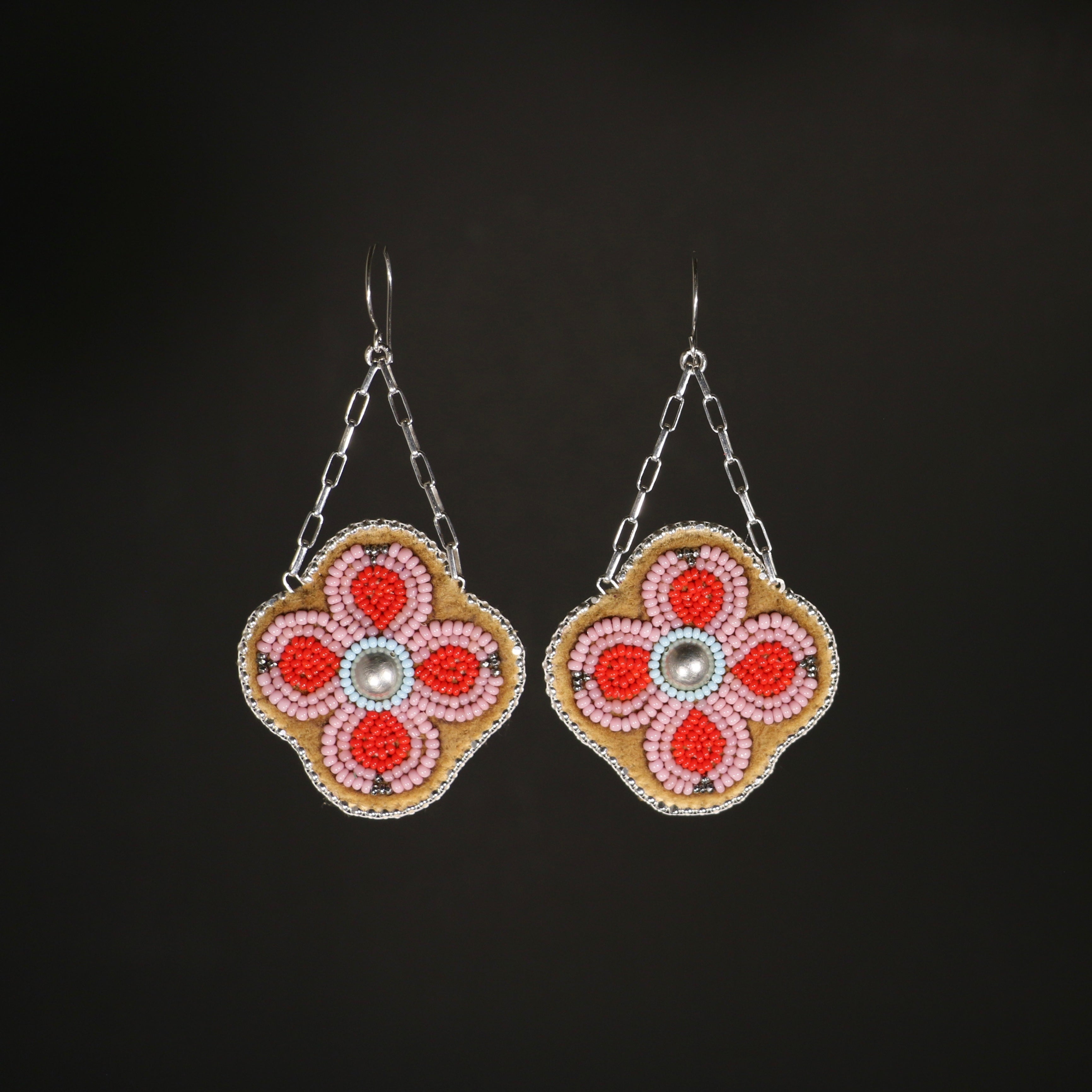 Beaded Floral Earrings - Cheyenne pink and Bright Red