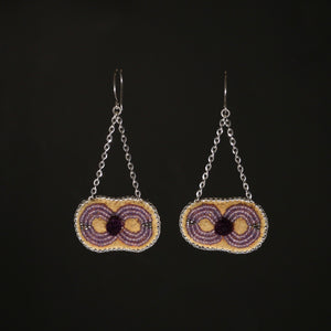 Caribou Tufted and Beaded earrings - Translucent purple