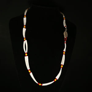Dentalium Shell Necklace - Yellow and brick red