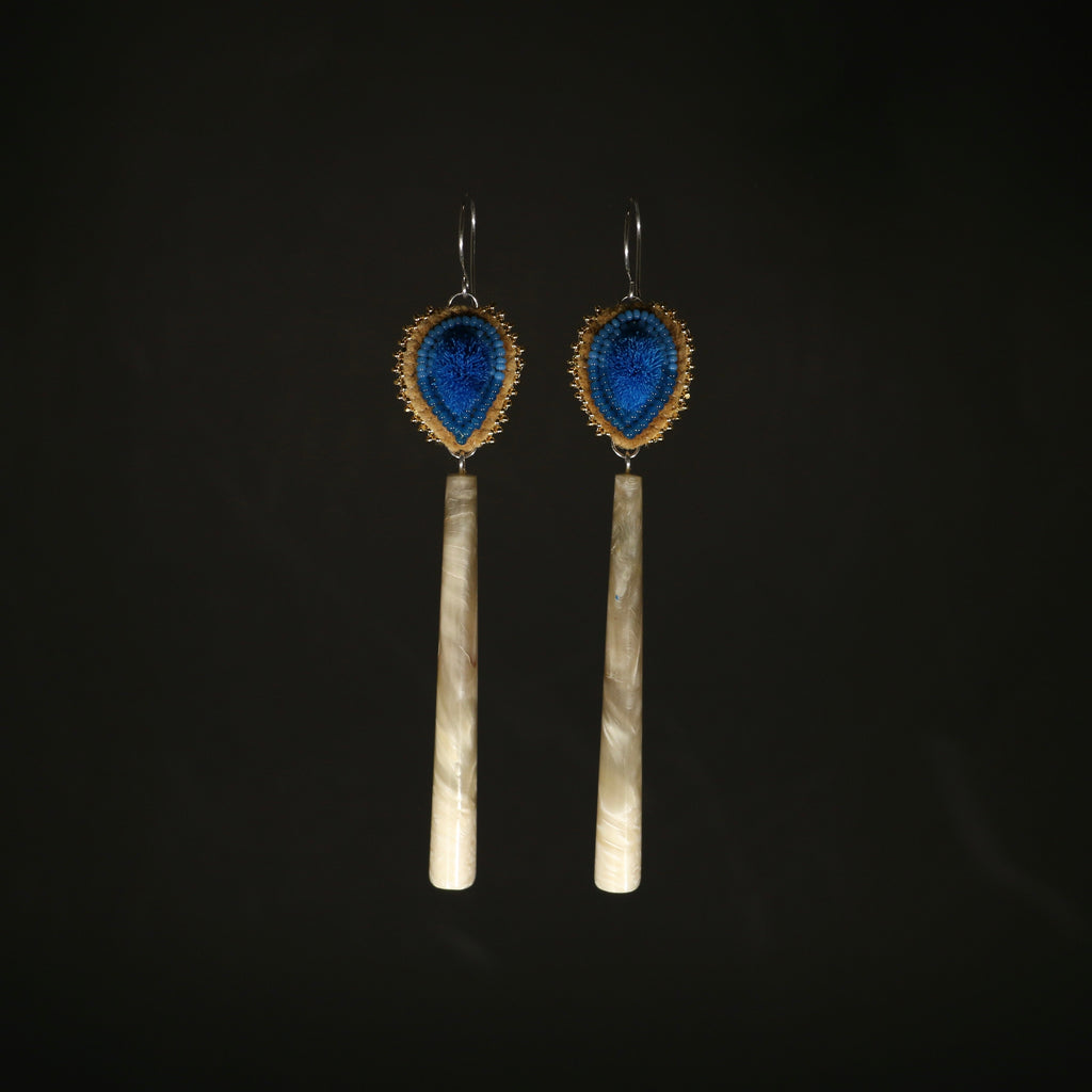 Beaded, Caribou Tufting and Muskox Horn Earrings
