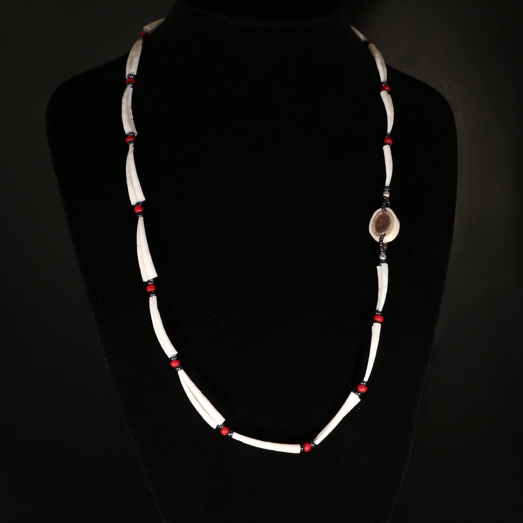 Dentalium Shell necklace - Red and Gun Metal