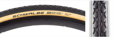SCHWALBE CLASSIC HS159 ACTIVE TWIN K-GUARD Tire- 27 x 1-1/4 - Black/Gum