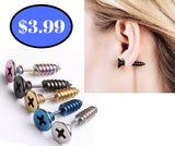 Steampunk Screw Stud Earrings For Men Or Women