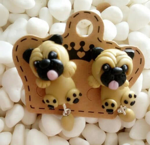 Handmade Cute Pug Dog Stud Earrings