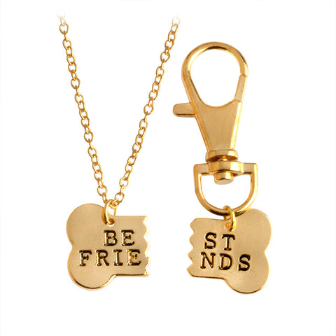 Adorable 2pc Dog Bone Best Friends Charm Necklace & Keychain