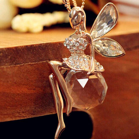 Elegant Gold Plated Crystal Butterfly Fairy Pendant With Long Chain Necklace