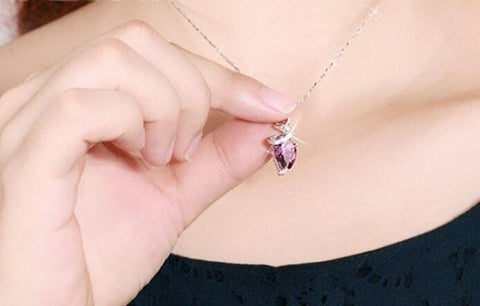 Beautiful Crystal Rhinestone Drop Silver Color Chain Necklace Pendant