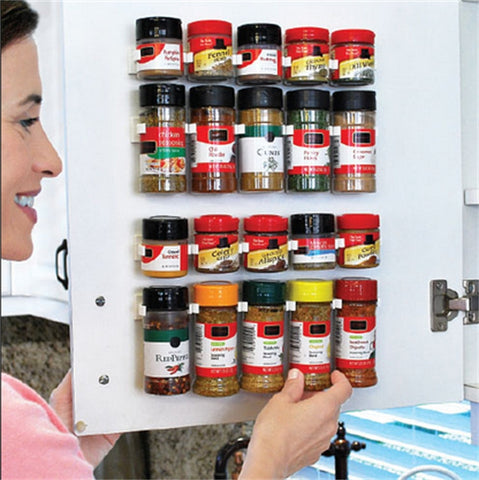 4Pc Spice Jar Rack Holder For Wall Or Cabinet Door