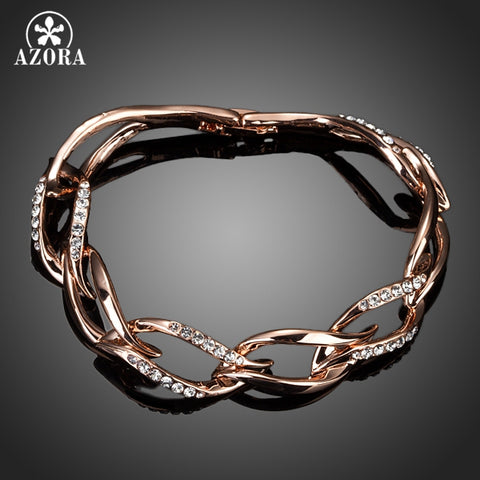 Elegant Rose Gold Chain Bracelet Encrusted With Clear Stellux Austrian Crystals