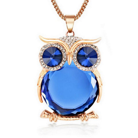 Cute Crystal Rhinestone Owl Pendant And Necklace