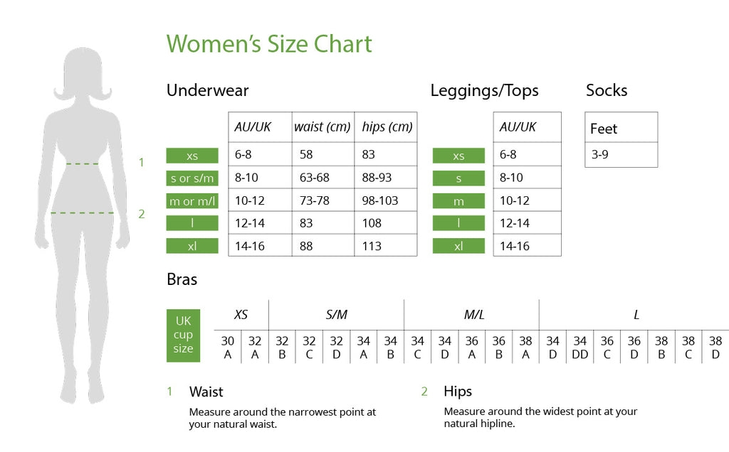 Boody UK Women Size Chart