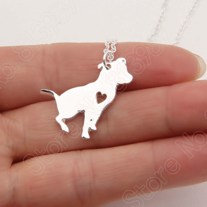 Pit Bull Dog Heart Necklace & Pendant