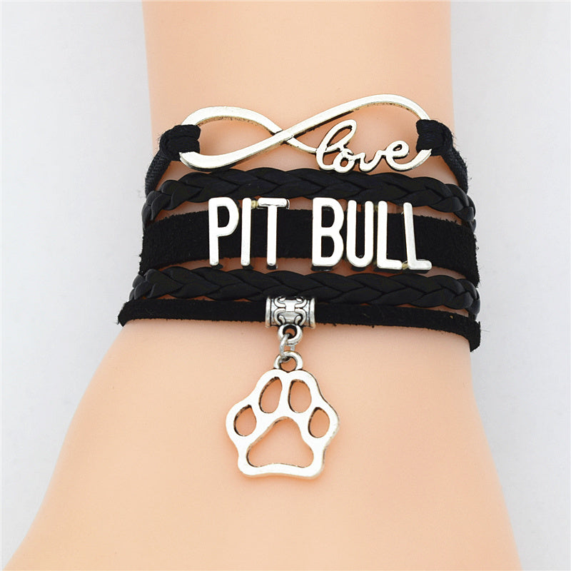 Charm Bracelet Leather Pawn Love American Pit Bull Terrier Dog