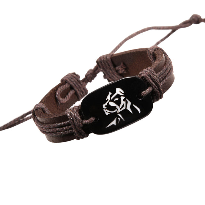 Fashion Pit Bull Leather Bracelet