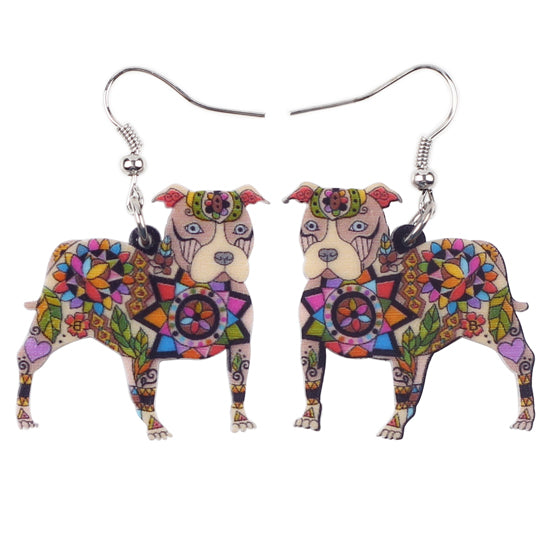 Long Pit Bull Drop Earrings in Acrylic
