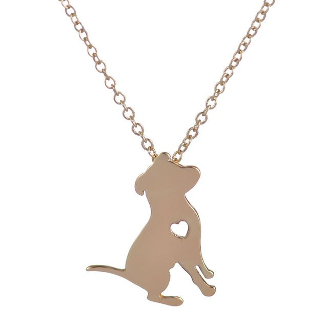 Cute Pit Bull Necklace with Heart Pendant Necklace