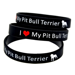 Silicone Wristband Logo I Love My Pit Bull Terrier