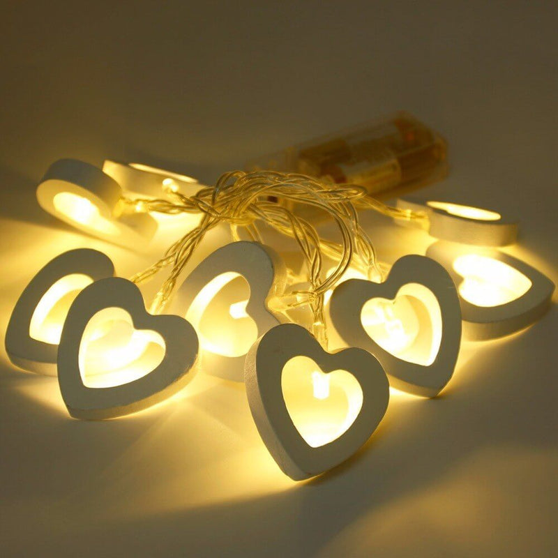 Creative Christmas LED Light Decoration String - Wooden Home & Heart Shape